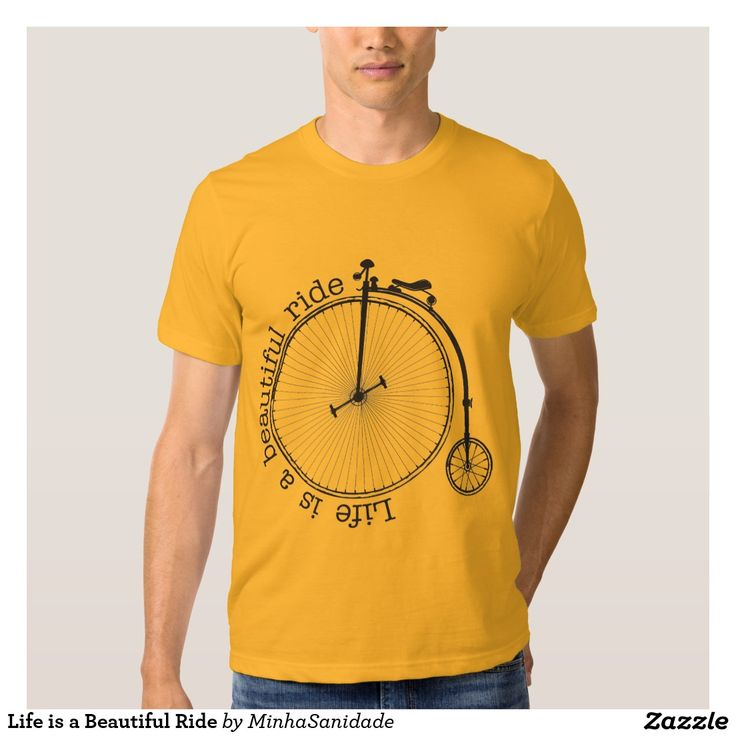 Stylish and optimistic Tee with a beautiful illustration of a retro bike and a typography message: Life is a Beautiful ride.