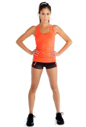 Wholesale Bright Orange Tank Top And Black Shorts