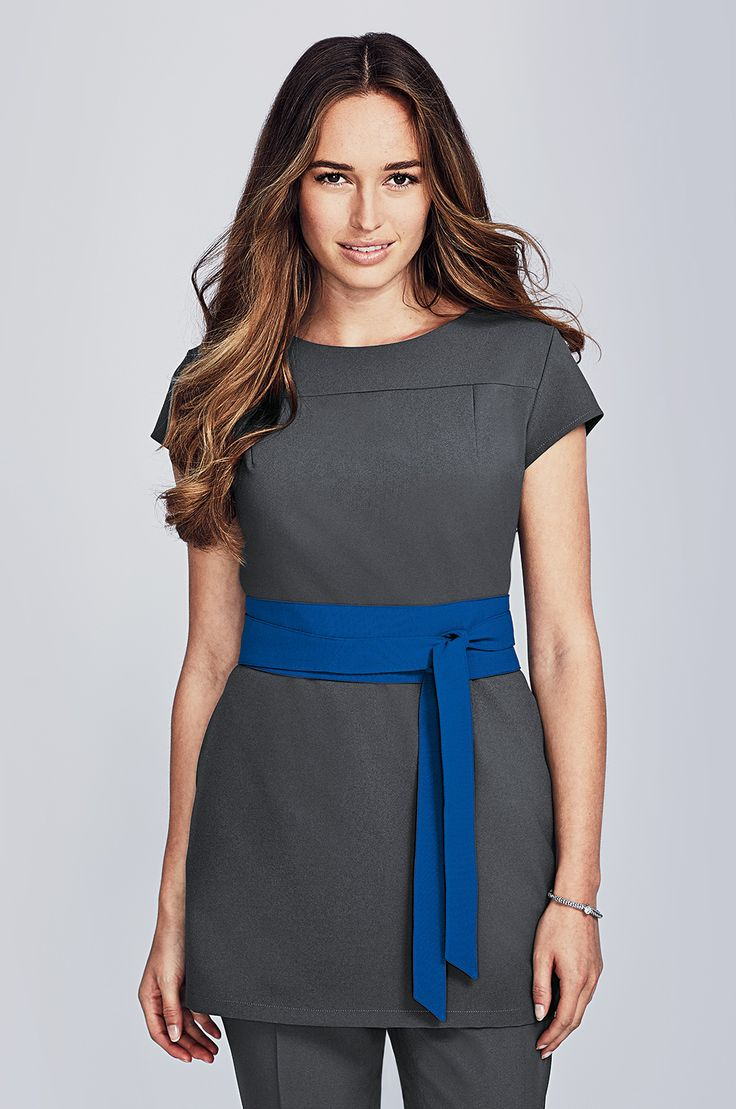 Graphite tunic suitable for many professions including beauty, hairdressing, salon and spa careers. Style with our NEW cobalt blue sash. Shop at www.simonjersey.com for beauty tunics, beautician uniforms, beauty therapist's tunic, salon uniforms, spa uniforms, hairdressing tunics. Perfect for many work places including beauty salons, spas, hairdressing salons, cosmetic surgeries, dog grooming salons, hotels, boutique hotels and more.