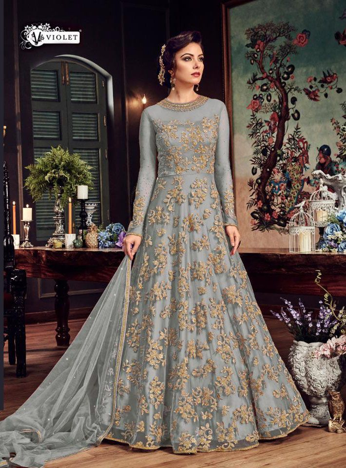 ad119ffeee11 Impeccable Grey Color Heavy Net With Embroidery & Stone Work Suit in ...