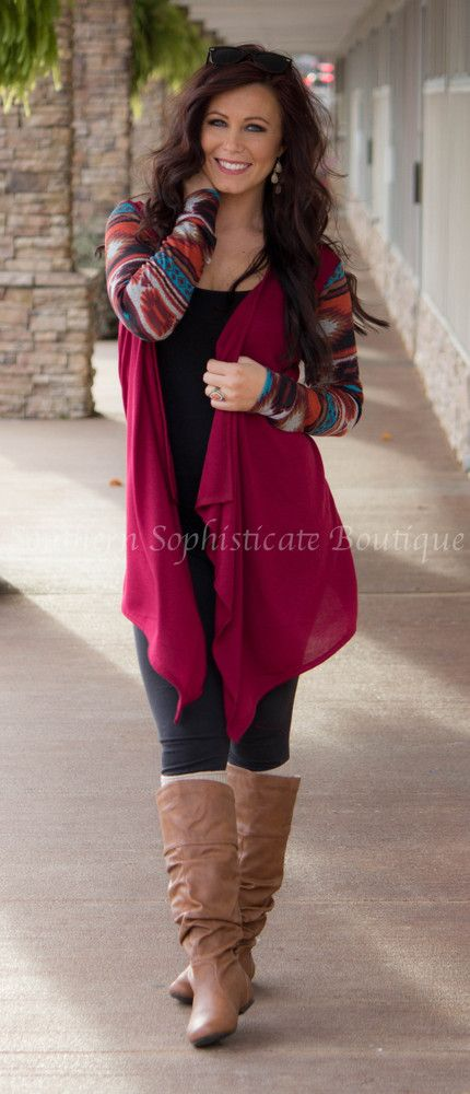 Wine Aztec Sleeve Cardigan / Southern Sophisticate Boutique