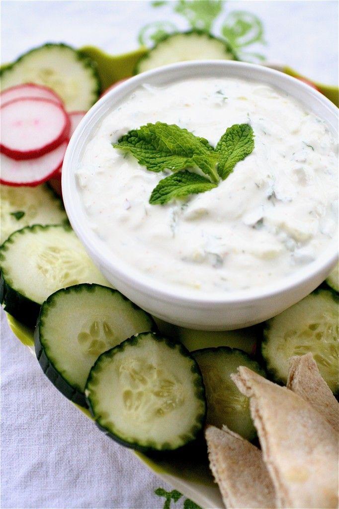 5 Ingredient Tatziki: -shredded cucumber -sprigs of dill ...