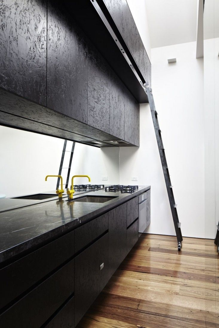 painted OSB! Life Space Journey, Black Marble Kitchen Countertop | Remodelista