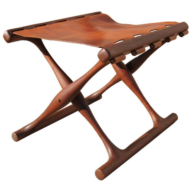 Folding Teak And Leather Stool By Poul Hundevad