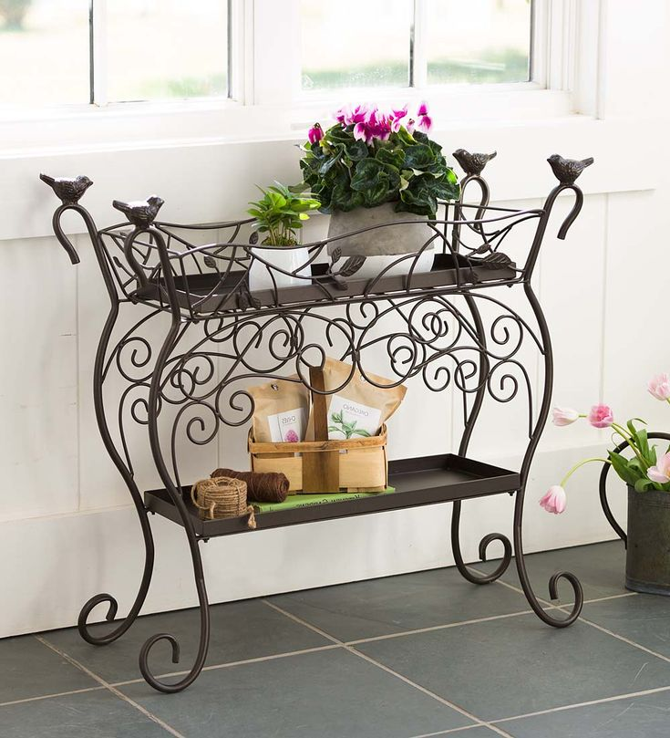 Two-Shelf Cast Iron Plant Stand with Birds | Plant Stands | Two-Shelf Cast Iron Plant Stand with Birds will be the new star of your outdoor decor with its beautiful scrolling vines and charming bird details.