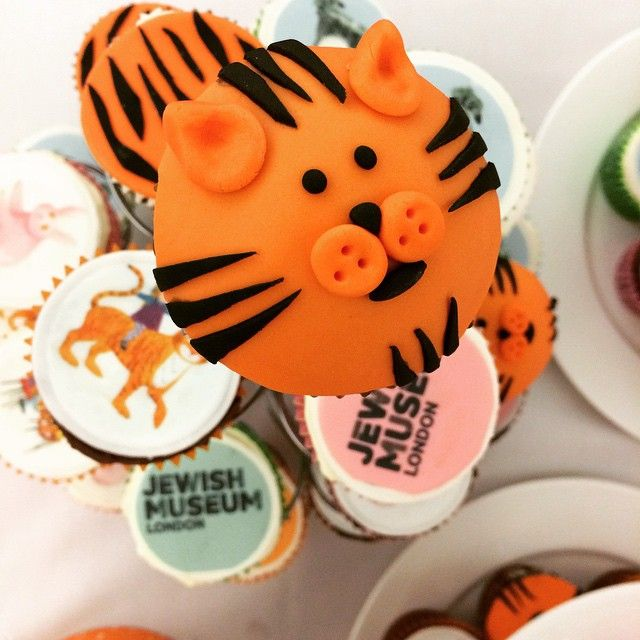 Tiger cupcakes ready for today's opening of our #JudithKerr exhibition - open to the public tomorrow #Tiger #Mog #PinkRabbit #cupcakes #exhibition #family