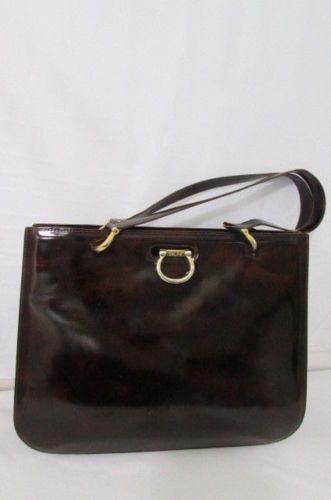 Brown Shiny Leather Handbag Authentic Celine Paris Gold Hardware Vintage Women Classic Fashion