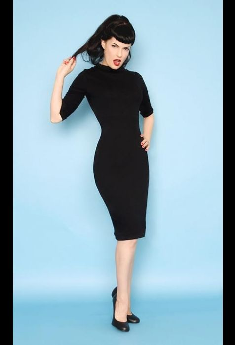 Retro Dress - The Super Spy Dress in Black Stretch Jersey by Heartbreaker Fashion $64.00