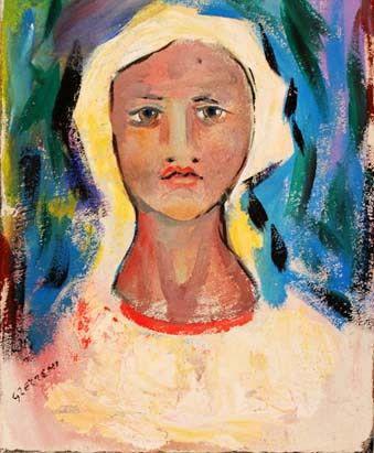 Figura di ragazza 2, affresco su tela