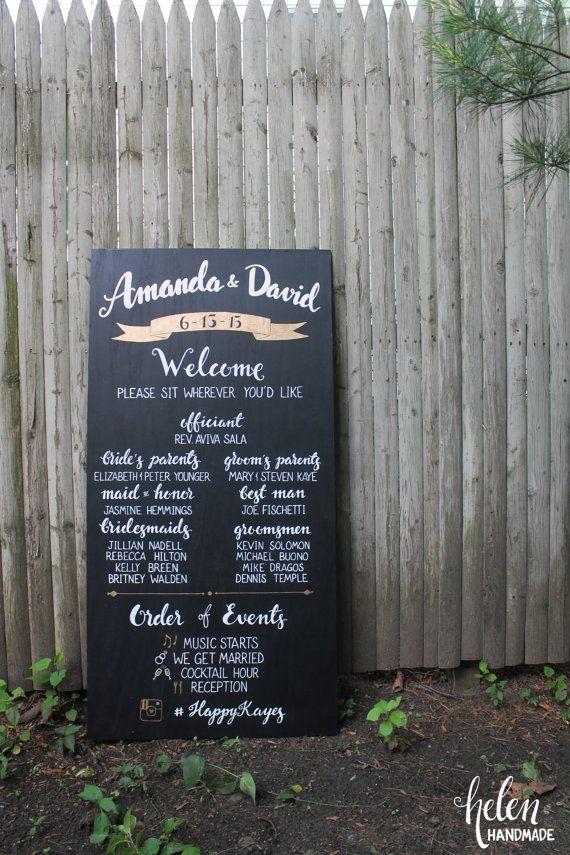 Personalized wedding program sign  chalkboard by HelenXiaHandmade