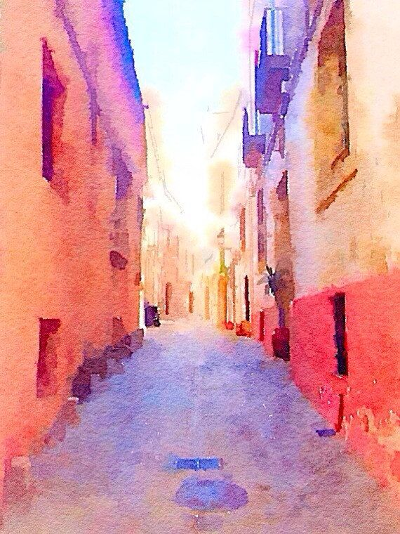 Spanish Architecture Secret Alley Digital Design from The Wishing Wall Art on Etsy. Printed on high quality paper in 4 sizes. Custom sizes are available. Digital download coming soon.