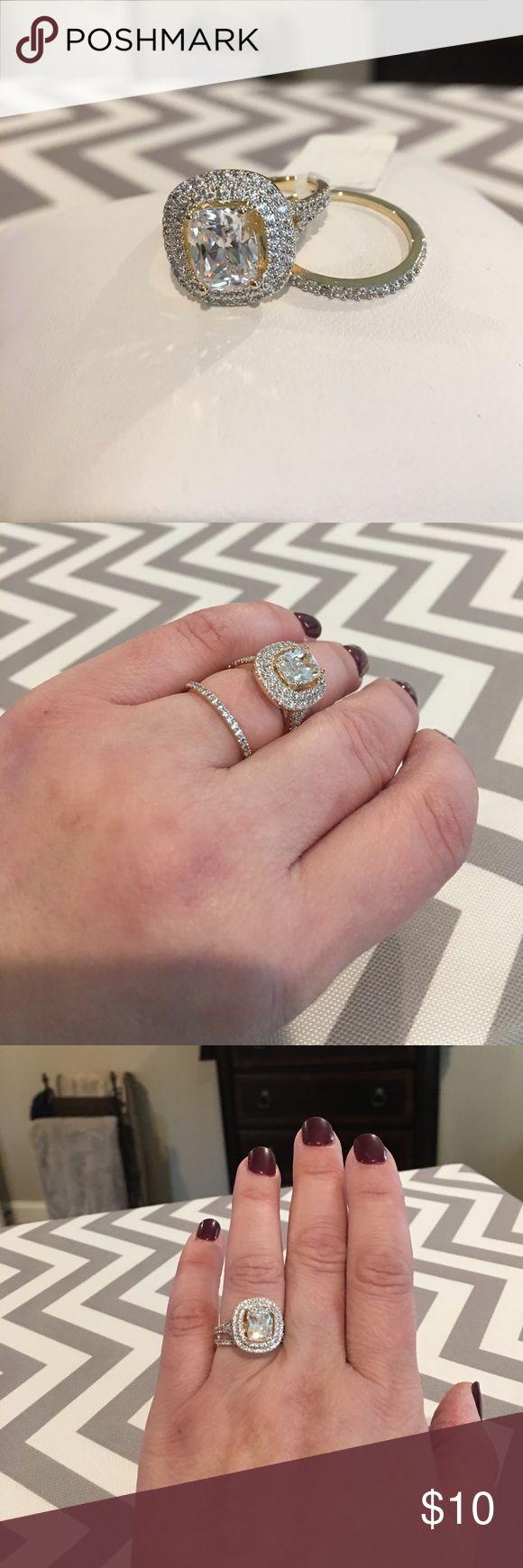 CZ 2 Piece Double Halo Bridal Ring Set CZ 2 piece double halo Bridal ring set in 18k yellow gold plated Jewelry Rings