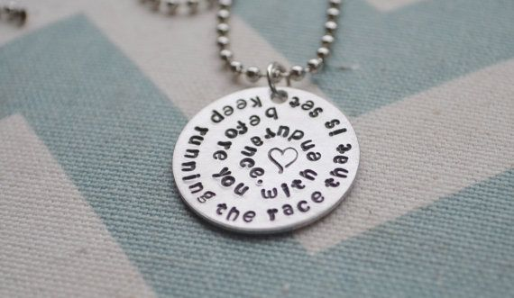 Hand Stamped Running Jewelry  Keep Running by SilverWingsDesigns, $18.00