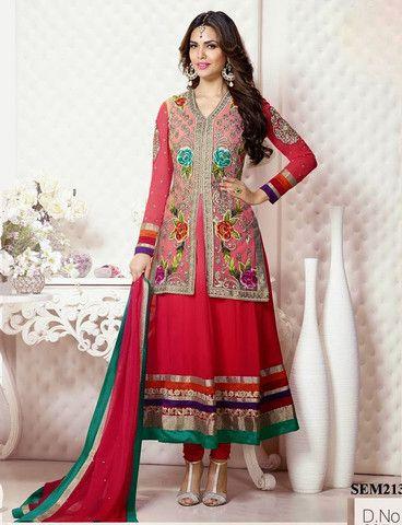 Esha Gupta In Red Jacket Style Long Anarkali Suit | Veeshack Shop