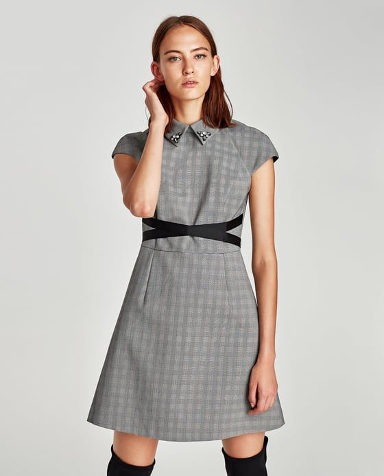 Image 2 of CHECKED DRESS WITH CONTRASTING BELT from Zara