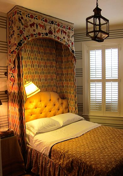 custom half-tester made of Turkish ikat fabric, along with a  nineteenth-century  Canopy Bed ...