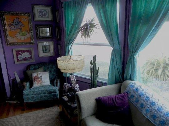 Another View Of Grey Couch Teal Curtains For The Home