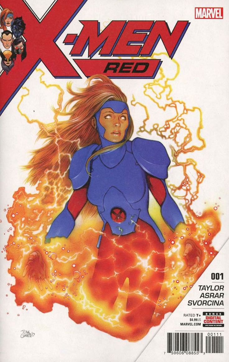 COMIC BOOK: X-Men Red # 1. PUBLISHER: Marvel Comics. WRITER(S) Tom Taylor. ARTIST: Mahmud Asrar. COVER ARTIST: Travis Charest. ORIGINAL RELEASE DATE: 2 / 7 / 2018. COVER PRICE: $4.99. RATING: Teen +.