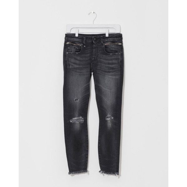 R13 Biker Boy Distressed (500 CAD) ❤ liked on Polyvore featuring jeans, denim skinny jeans, stretchy skinny jeans, ripped skinny jeans, distressed jeans and faded black jeans