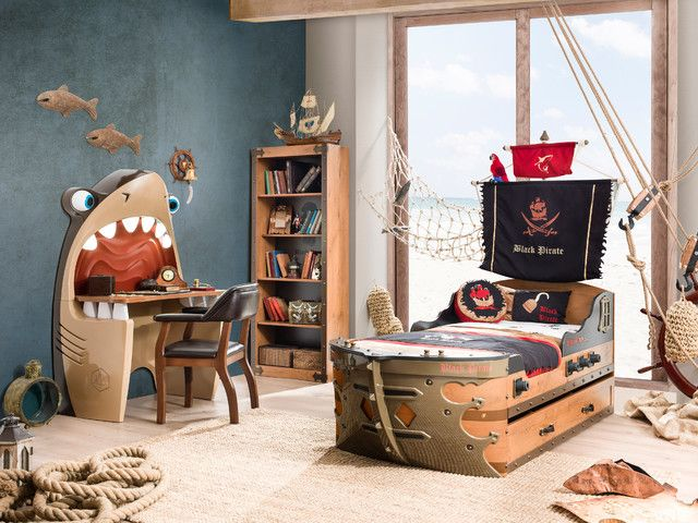 Beach style pirate themed bedroom. Click here to find out more: http://www.houzz.co.uk/photos/8553870/pirate-ship-bedroom-coastal-kids-miami