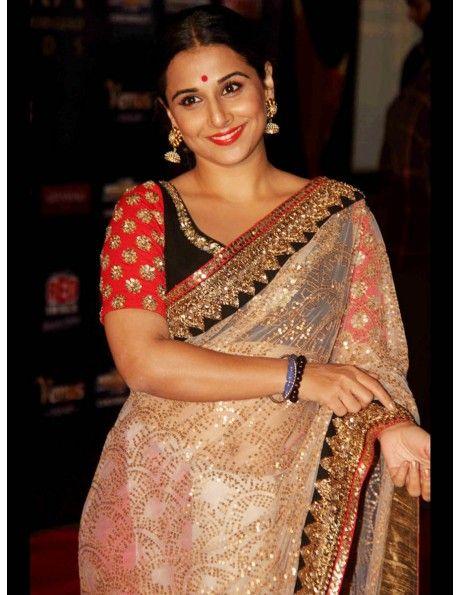 Vidhya Balan Cream Net Saree Item code : SMBW12