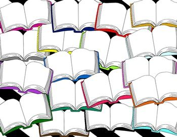 Schoolbooks clip art in 18 colors, black and white, and blackline for your classroom posters and TpT creations. Just insert a text box and add your own text and images to organize your literacy centers, library labels, posters, bulletin boards and more. Easily resizeable. 300 DPI, PNG.  $