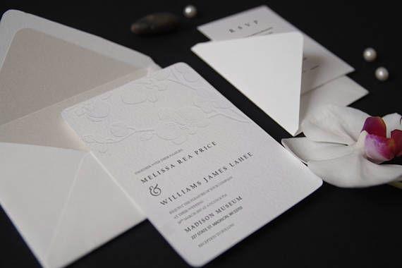 28. Letterpress Sample Embossed Orchid Branch Wedding