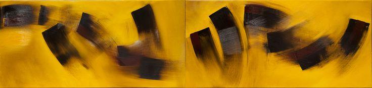 no.20 노란빛 위로 부는 갈색바람 42 x 179 oil on canvas 2014