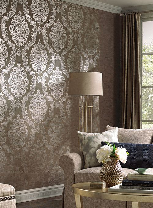Grand Palais Wallpaper in Taupe by Ronald Redding for York Wallcoverin | BURKE DECOR