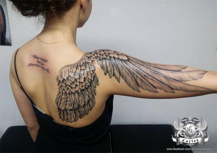 Wing tattoo, Black and Grey tattoo, Realistic tattoo, Portrait tattoo