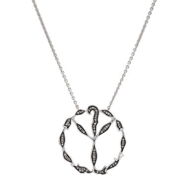 Sterling Silver Diamond Peace Pendant Necklace