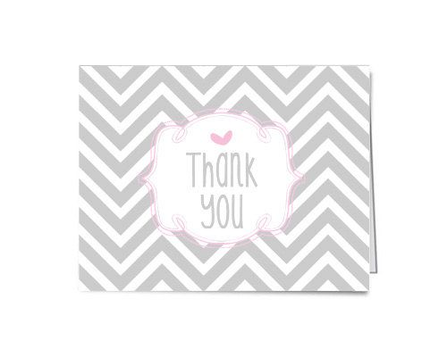 55 x 4 folded Chevron Thank You Card soft pink by AdornedHeart, $40.00