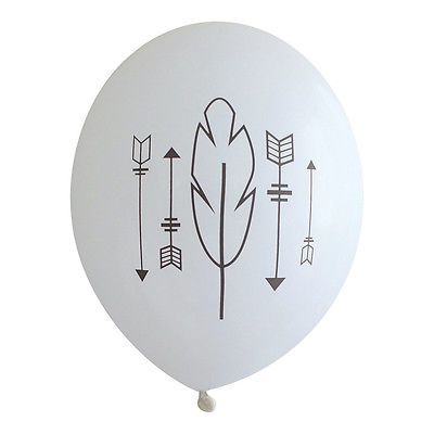 Gunmetal Arrows and Feathers on White Balloons