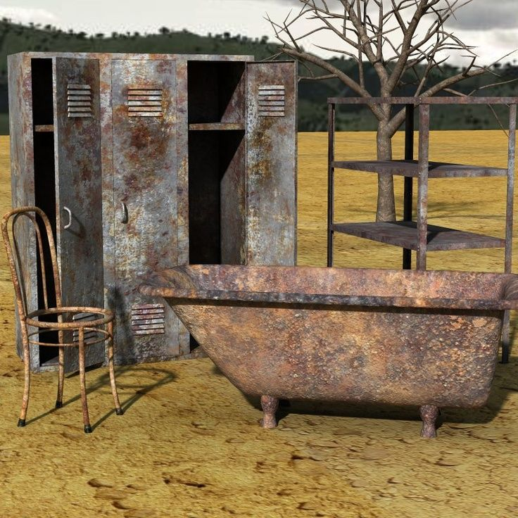 junky rusty old decoration | Rusty Junk | rusty junk set 2 for poser rusty junk for creating post ...