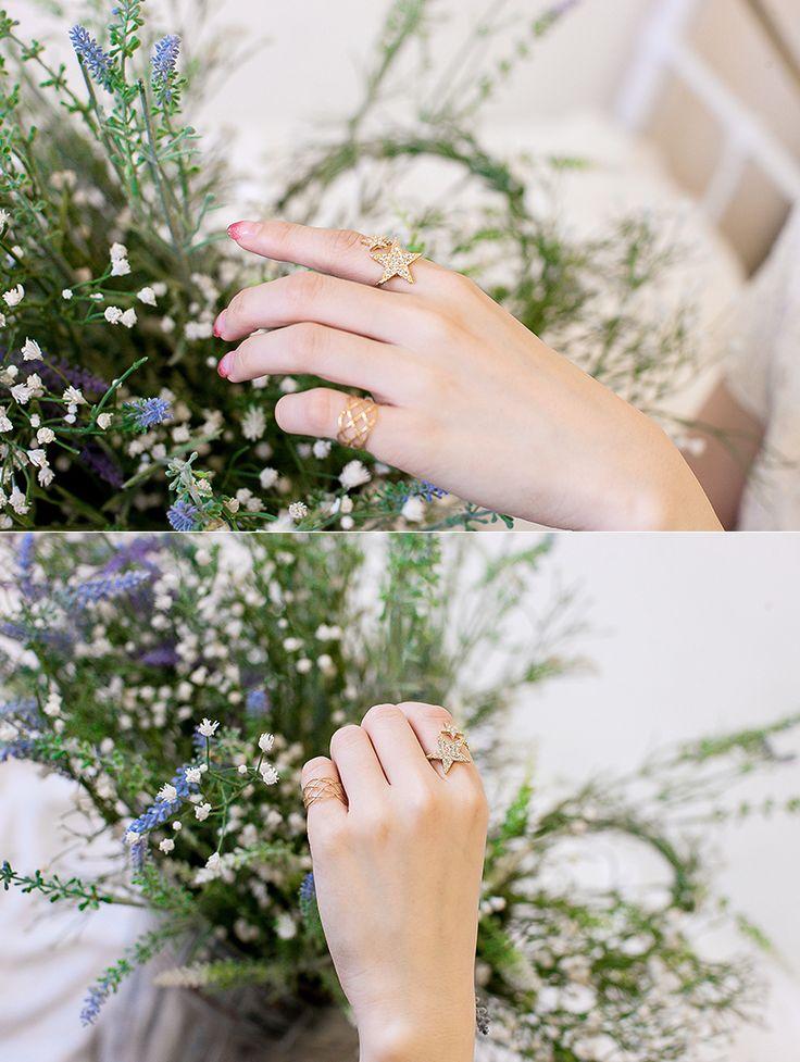 [바보사랑] 내손위에 앉은 별 하나, 별 둘 /반지/별/골드/주얼리/패션/스타/악세서리/Ring/Star/Gold/Jewelry/Fashion/Accessories