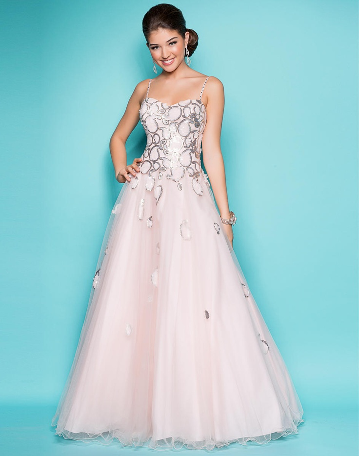 Swirls rock! Delicate silver stones define clear-beaded ellipses that create a stunning ballgown. #prom2013 #juniperdress #sweetheart #pink #sparkle #blush