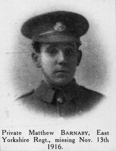 WWI, 13 Nov 1916; Pt  Matthew Barnaby died, Western Front. ©IWM