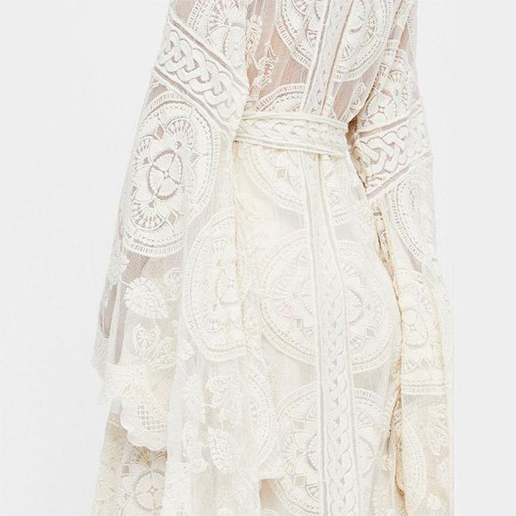 Flare Sleeve Delicate Floral Lace Kimono