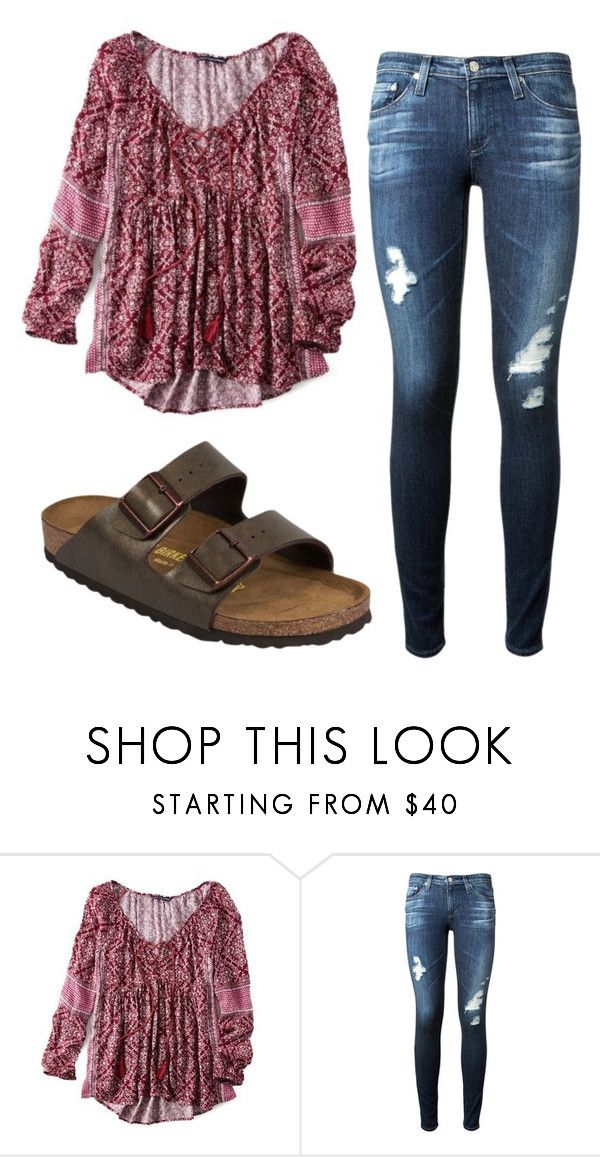 """Wild Flower"" by averyglehr on Polyvore featuring American Eagle Outfitters, AG Adriano Goldschmied and Birkenstock"