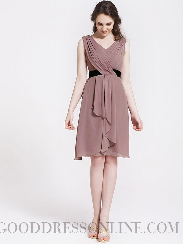 Hot A-line Knee-length V-neck Chiffon Bridesmaid Dresses
