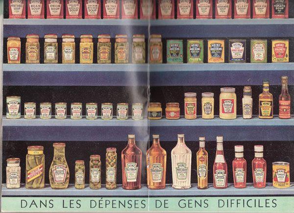 Produits Heinz, page centrale d'un petit livre de recettes. Sauriez-vous dire en quelle année?