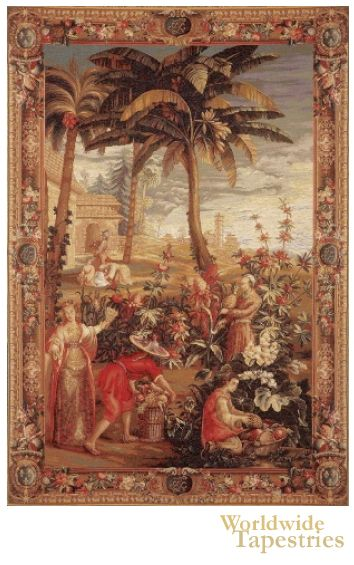 """Taken from a series known as """"The Story of China"""", this tapestry """"La Recolte des Ananas"""" or """"Harvest of the Pineapples"""" shows the Empress overseeing the harvest of exotic pineapples. """"La Recolte des Ananas"""" was believed to have been originally commissioned by Louis Alexandre de Bourbon, the son of Louis XIV of France."""