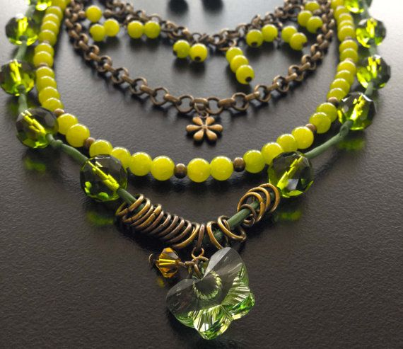 Handmade beaded necklace with pearls lime and charm by BYTWINS