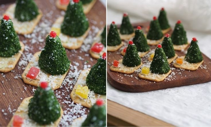 """Сырные елочки к новогоднему столу/ Взгляните на такую красоту! Ну, как тут не умилишься таким """"елочкам""""! Идея оформления новогоднего блюда великолепная - давайте будем учиться! Ингредиенты на 10-12 елочек: КрекерыУкроп — пучокОливко…"""