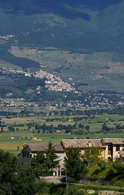 Montefalco, view of Spello and Valle Umbria , province of Perugia , Umbria region. Italy