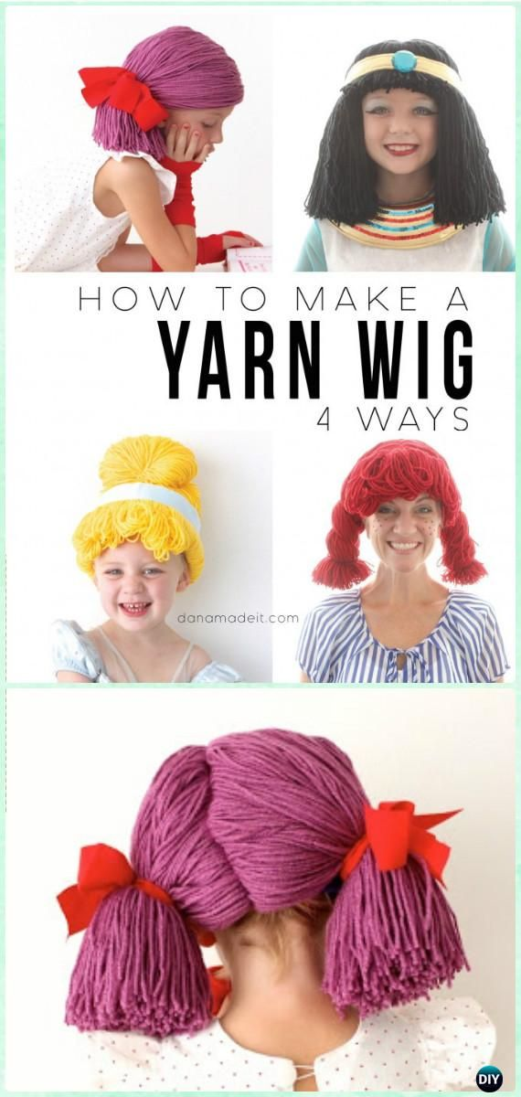 DIY Yarn Wigs Instruction 4 Ways - Yarn #Crafts No Crochet