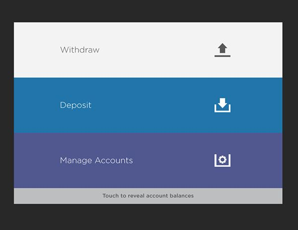 ATM UI Concept on Behance simplified user action screen