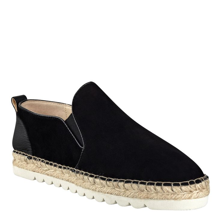 Black Suede Noney Espadrille Slip On Sneakers