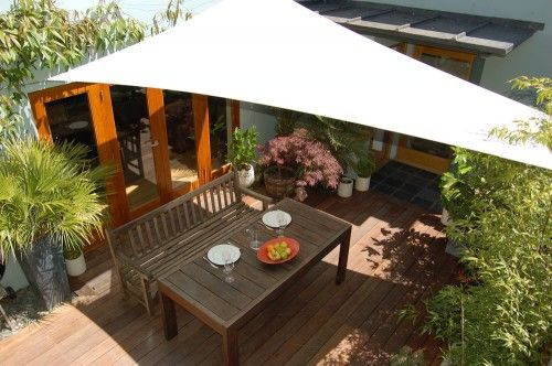 Garden sail - an ideal but temporary way to provide protection from the elements.