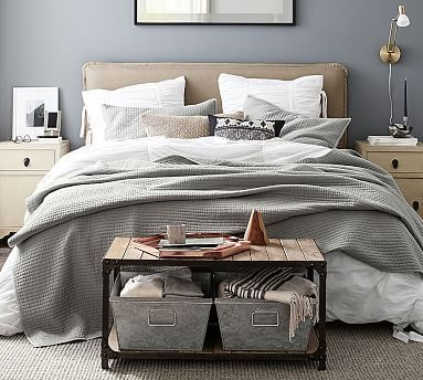 Can't decide if I like off white bed or tan wood bed. Thoughts?--Carissa Upholstered Headboard #MyPotteryBarn